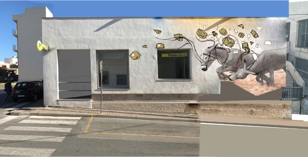 Ufficio Postale Poste Italiane : Un murale sullufficio postale di pantelleria liniziativa di poste