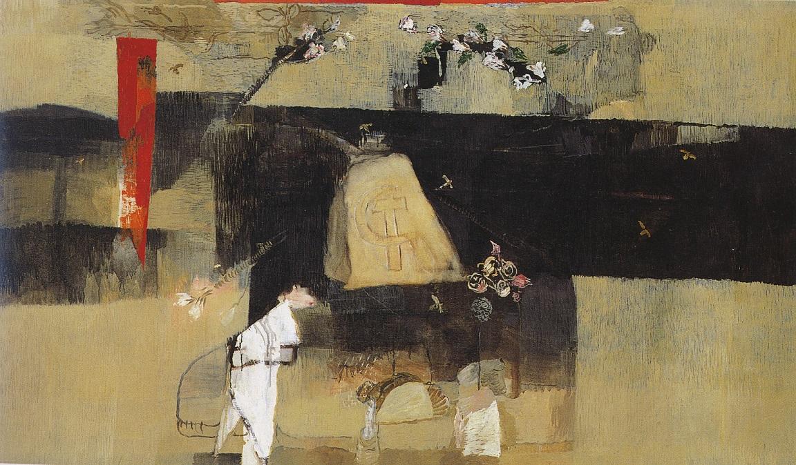 ALBERTO GIANQUINTO, La Pietra di Gramsci, olio su tela 1989, LGT
