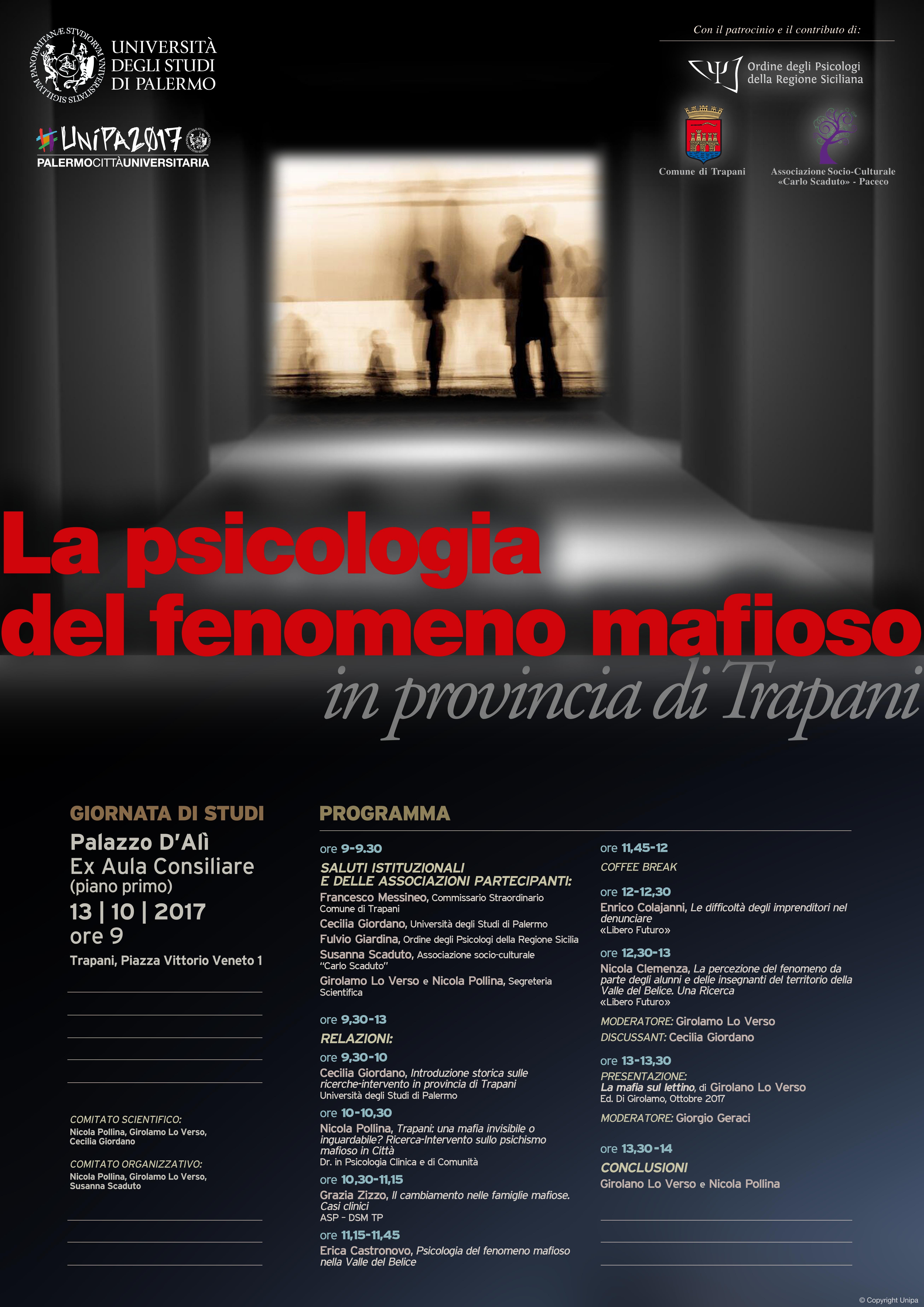 Locandina La psicologia del fenomeno mafioso in provincia di TP