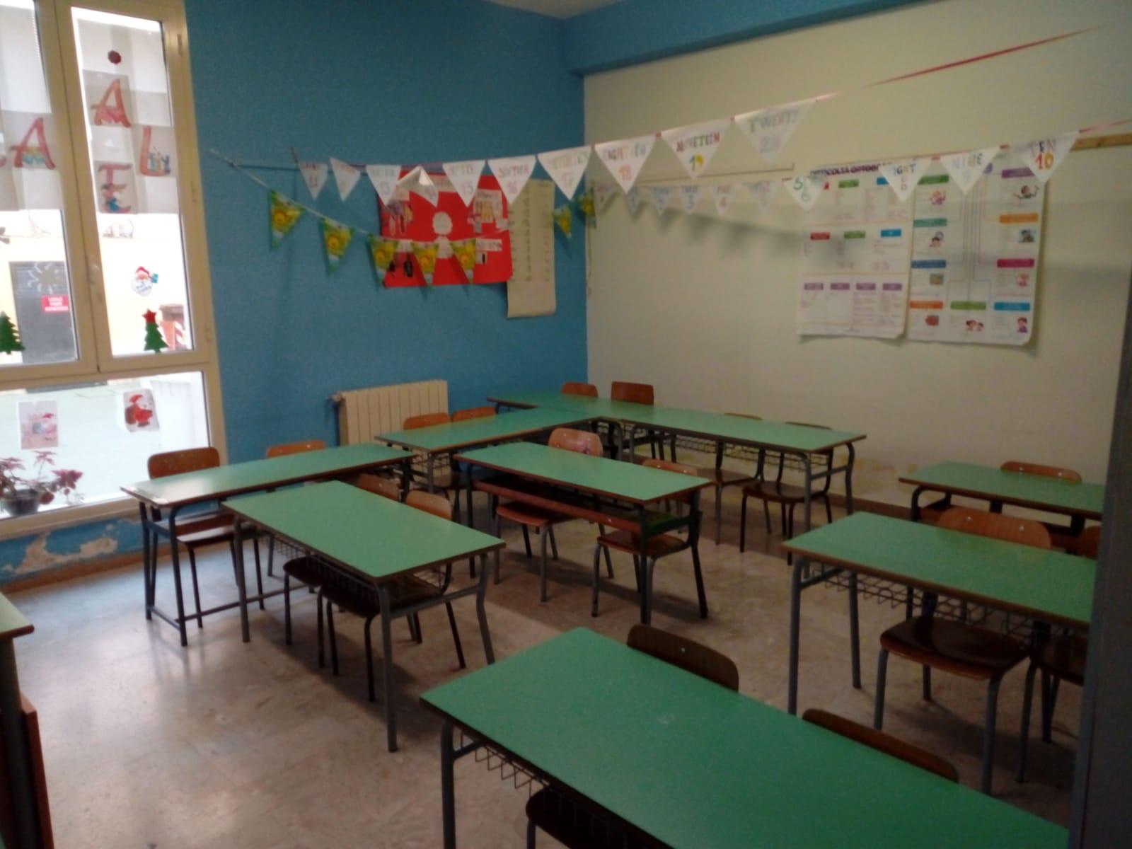 scuola Cavour aula vuota